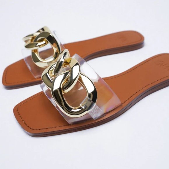 Zara - NEW - Transparent Chain Sandals - Size 8
